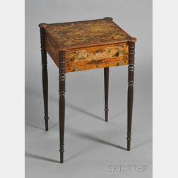 Federal Paint-decorated Figured Maple and Pine Work Table