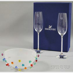 "Swarovski Crystal ""Apollo"" Bowl and a Pair of Toasting Flutes"