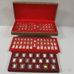 Three Boxed Sets of Commemorative and Collectible .999 Silver Ingots