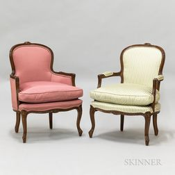 Two French Provincial-style Upholstered Chairs