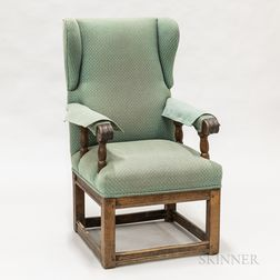 Provincial Jacobean-style Upholstered Walnut Wing Chair