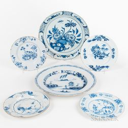 Two Tin-glazed Blue and White Delftware Chargers and Four Plates