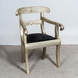 Grecian-style Metal-clad Armchair