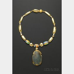 Artist Designed 24kt and 18kt Gold and Enamel Scarab Necklace, Janiye