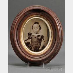Large Framed Oval Tintype Portrait of a Boy