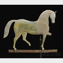 "Diminutive Cast Zinc and Molded Copper ""Index"" Horse Weather Vane"