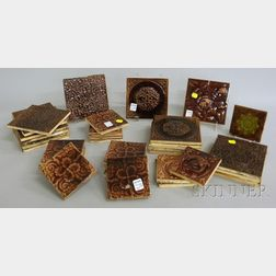 Thirty-seven Assorted Brown-glazed Molded Art Pottery Tiles