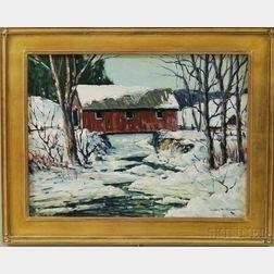 John F. Enser (American, 1898-1968)      Red Covered Bridge in Winter.