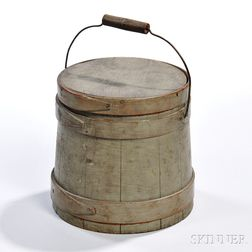Small Gray Green-painted Covered Pail
