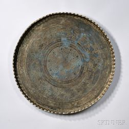 Silvered Copper Moroccan Table Tray