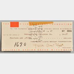 Wright, Frank Lloyd (1867-1959) Signed Check, 18 November 1947.