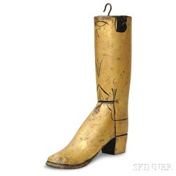 Gilt and Black-painted Boot-form Bootmaker's Trade Sign