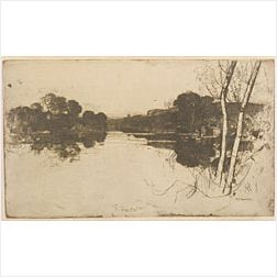 Lot Of Three Views of Waterways:  Sir David Young Cameron (British, 1865-1945) The Vale of Clyde