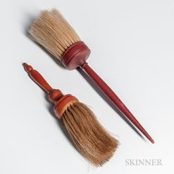 Two Red-painted Shaker Brushes