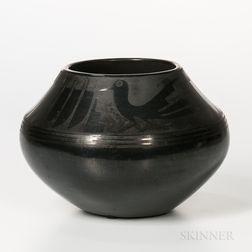 San Ildefonso Black-on-black Pottery Jar