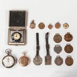 Three Odd Fellows Watches/Clocks and Thirteen Fobs
