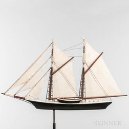 Painted Two-masted Schooner Weathervane