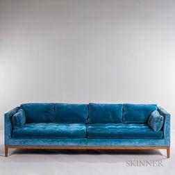 Blue Plush Upholstered Teak Sofa