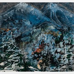 American School, 20th Century      Abstract Winter Landscape with Church at the Foot of Snowcapped Mountains.