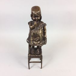 Bronze Sculpture of a Girl on a Stool After Juan Clara