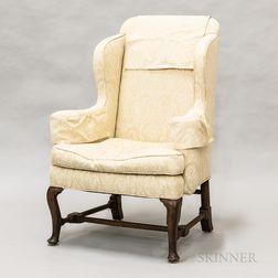 Georgian Upholstered Walnut Wing Chair
