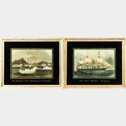 """British School, 19th Century      Two Prints from the Illustrated London News: The Ship """"Mersey"""" 40 Guns"""