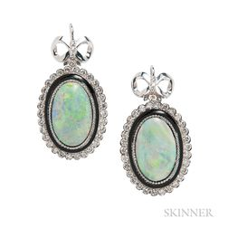 18kt Gold, Opal, and Diamond Earrings