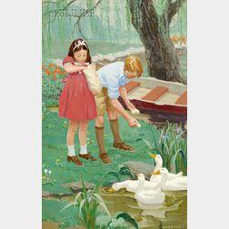 Courtney Allen (American, 1896-1969)      The Frog Pond, Boston Garden