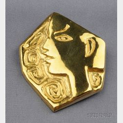 Artist Designed 23kt Gold Pendant/Brooch, Jean Cocteau
