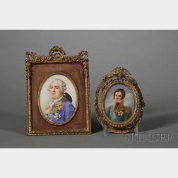 Two Portrait Miniatures of Royal Gentleman