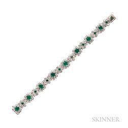 Platinum, Emerald, and Diamond Bracelet, Oscar Heyman