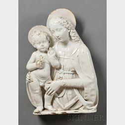 Della Robbia-style White Glazed Wall Plaque of the Madonna and Child