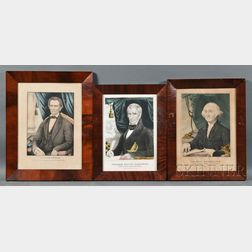 Framed Lithograph Portraits of the First Sixteen Presidents, Washington to   Lincoln