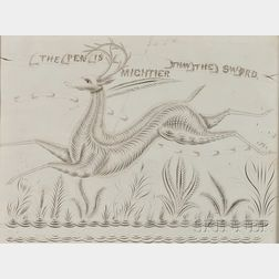 """""""The Pen is Mighter Than the Sword"""" Leaping Stag Calligraphic Excercise"""