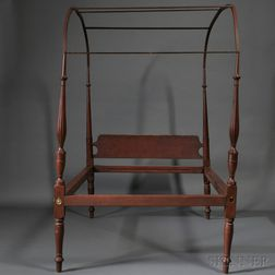 Federal Red-painted Maple and Pine Canopy Bed