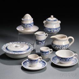 Eight Pieces of Rabbit Pattern Dedham Pottery