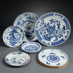 Six Blue and White Tableware Items