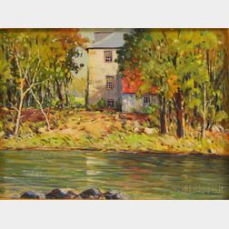 John F. Enser (American, 1898-1968)      House by a River.