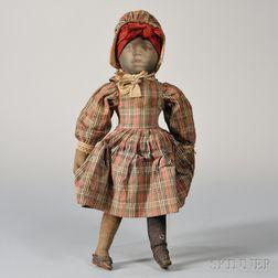 Printed Cloth Black Girl Doll
