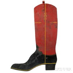 Paint-decorated Tinned Iron Boot-form Trade Sign