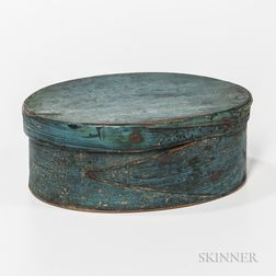Blue-painted Oval Pantry Box