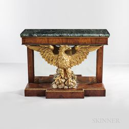 Empire-style Verde Antique-top Pier Table with Eagle