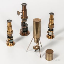 Unmarked German Field Microscope and Three Drum Microscopes