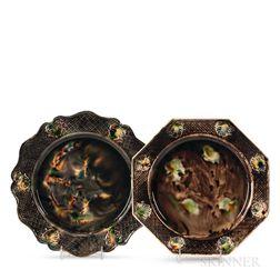 Two Staffordshire Press-molded Tortoiseshell-glazed Earthenware Plates