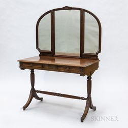 Regency-style Carved Mahogany Mirrored Dressing Table