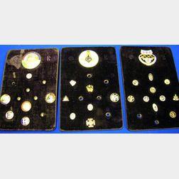 Three Flats of Fraternal Order Pins