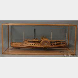 Monumental Cased Wooden Model of the Sidewheel Paddle Steamer Mt. Washington