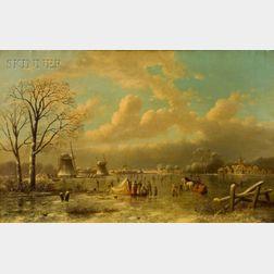 Johann Mongels Culverhouse (Dutch, 1820-1891)    Lake near Rotterdam, Holland