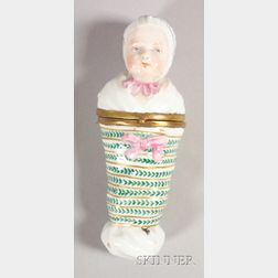 Continental Porcelain Baby-form Snuff Box