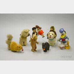 Group of Seven Small Clockwork Toys and a Tiny Chimp
